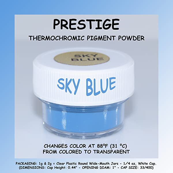Prestige THERMOCHROMIC Pigment That Changes Color at 88°F (31 °C) from Colored to Transparent (Colored Below The Temperature, Transparent Above) Perfect for Color Changing Slime! (2g, Sky Blue) (Color: SKY BLUE, Tamaño: 2g)