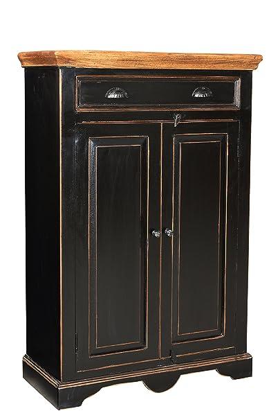 SIT-Möbel 5869-11 Hochkommode Corsica, 80 x 38 x 120 cm, Mango / MDF, schwarz mit honigfarbiger Deckplatte