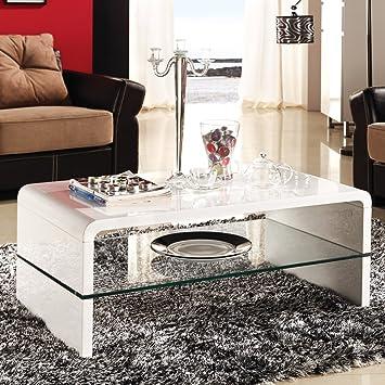 Mesa de centro/Sofá de mesa con diseño de Athena, cristal/de lacado de colour blanco brillante, 110 x 60 cm
