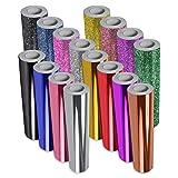 VViViD 16-Color Chrome Gloss & Matte Glitter DECO65 Permanent Adhesive Craft Vinyl 1ft x 5ft Roll Bundle (Color: black, blue, pink, silver, gold, red, purple, green, Tamaño: 1ft x 5ft)