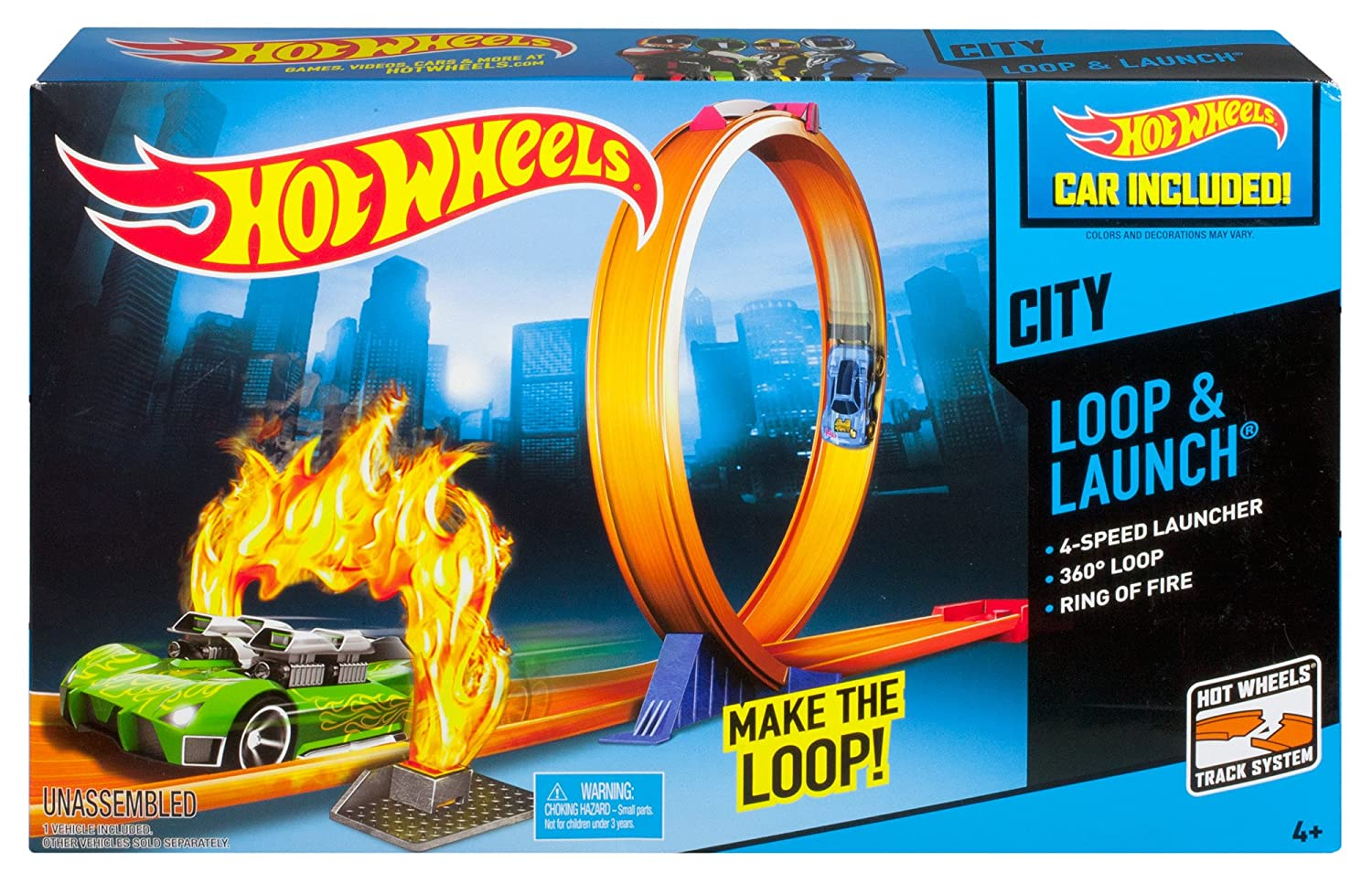 hot wheels city loop and launch trackset new cars kids toy. Black Bedroom Furniture Sets. Home Design Ideas