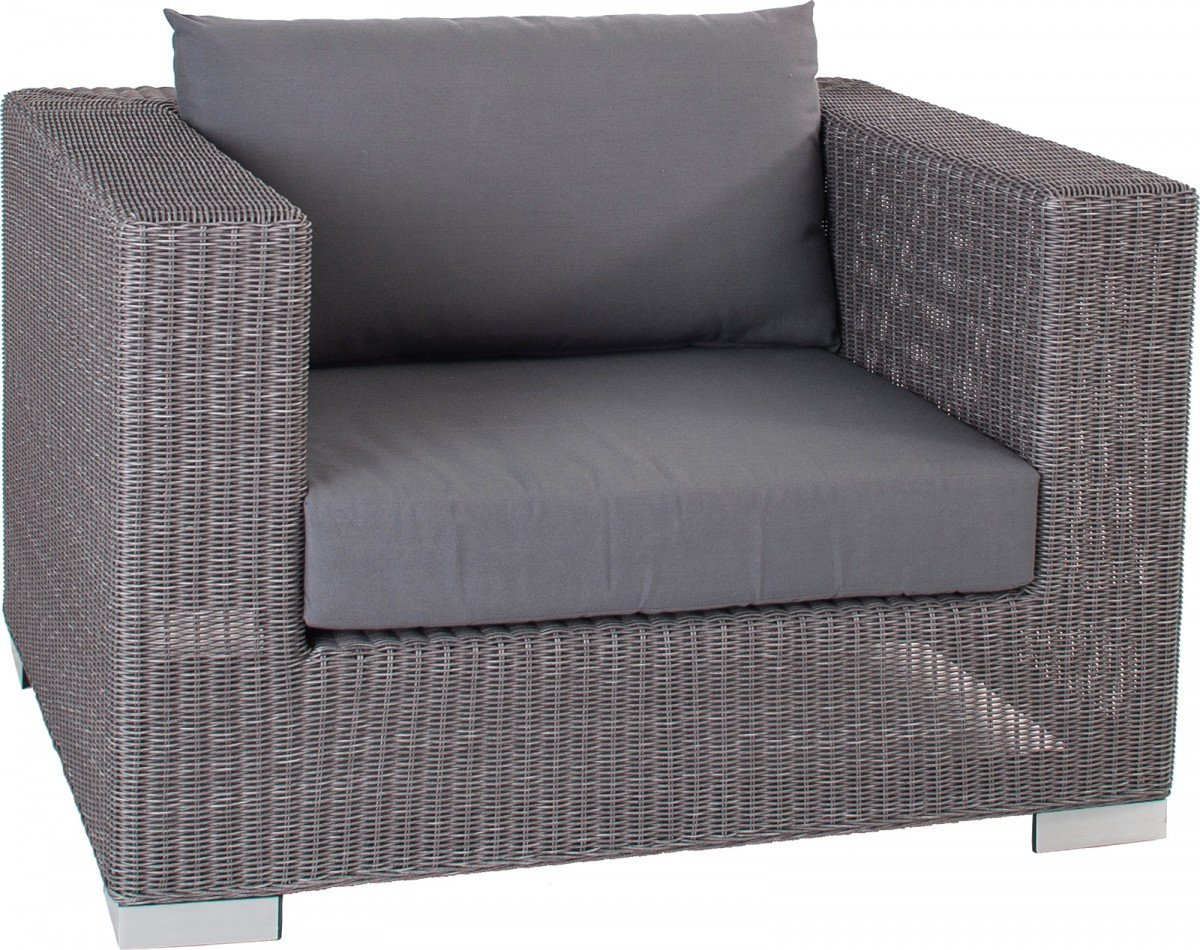 Dreams4Home Loungsessel 'Quincy' grau Lounge Rattan mit Polster Cocktailsessel Sessel Gartensessel