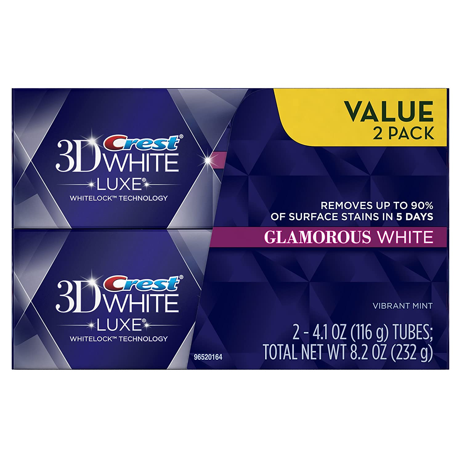 3D White Luxe Glamorous White Vibrant Mint Flavor Whitening Toothpaste Twin Pack 8.2 Oz