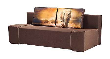 mein Sofa NE-004 3 Sitzer, Schlafsofa Liegefläche, 200 x 140 cm, Federkern, braun