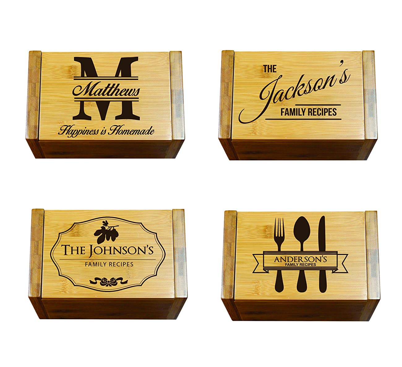 Engraved Recipe Box 4x6 Card Holder - Personalized Custom Gifts For Mom - Kitchen Cooking Gift 1