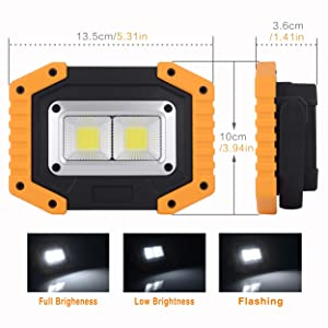 OTYTY COB 30W 1500LM LED Work Light 2 Pack, Rechargeable Portable Waterproof LED Flood Lights for Outdoor Camping Hiking Emergency Car Repairing and Job Site Lighting (W840 Yellow) (Color: W840-y)