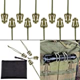 Pack of 10 Tactical Gear Clip Molle Web Dominators for Outdoor Hydration Tube Backpack Straps Management with Zippered Pouch by BOOSTEADY Coyote Tan (Color: OD Green)