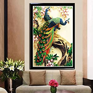 ZHENC Double Peacock Flower Tree Animals 5D DIY Full Square Diamond Painting Embroidery Full Drill Craft Decor Cross Stitch Kits (Tamaño: 50x75CM)