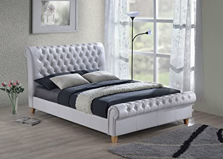 Luxury Richmond Chesterfield 6ft Super King Size White Leather Sleigh Bed with Slumber Sleep Extreme 50 Memory Foam Mattress