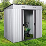 4' x 6' Metal Garden Storage Shed Utility Outdoor Backyard Lawn Tool House w/Sliding Door White and Warm Grey
