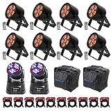 (8) Chauvet DJ EZPar T6 USB DMX D-Fi Wash lights+(2) Moving Heads+Bags+Cables