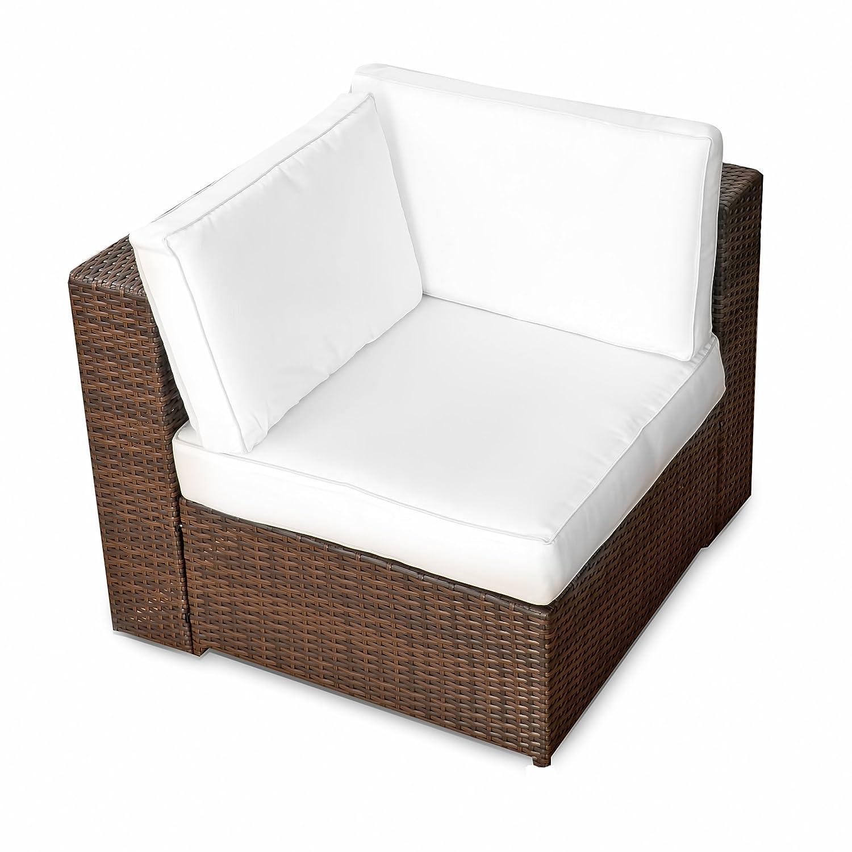 XINRO (1er) Polyrattan Lounge Eck Sessel – Gartenmöbel Ecksessel Rattan – durch andere Polyrattan Lounge Gartenmöbel Elemente erweiterbar – In/Outdoor – handgeflochten – braun günstig bestellen