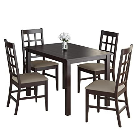 CorLiving 5 Piece DRG-595-Z4 Atwood Dining Set with Leatherette Seats, Taupe Stone