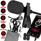 Professional Lavalier Microphone [FREE BONUS ACCESSORIES] Best Clip-on System Lapel Mic Condenser for Recording, Youtube, DSLR, Interview