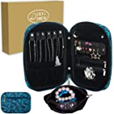 Lily & Drew Travel Jewelry Storage Carrying Case Jewelry Organizer with Removable Pouch, in Gift Box (V1B Leaf Blue) (Color: V1b Leaf Blue, Tamaño: Jewelry Only)