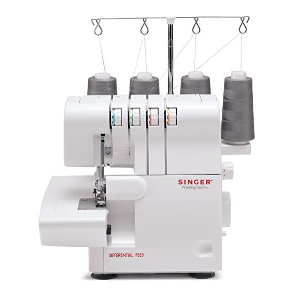 SINGER | Finishing Touch 14SH6540 Differential-Feed Serger Sewing Machine including 4-3 Stitch Configuration, Color-Coded Lay-in Threading System