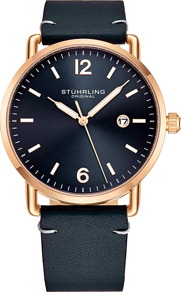 Stuhrling Original Blue Leather Watch Rose Gold Plated Case with Blue Dial - Vintage Style 38mm Case with Date - 3901 Mens Watches Collection (Color: Blue)