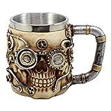Ebros Gift Silver Steampunk Detective Skull Coffee Mug Mechanical Gearwork Pipeline Design Beer Stein Tankard Drink Cup 14oz (Color: Gold Steampunk Skull)