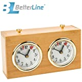 BETTERLINE Professional Analog Wood Chess Clock Timer - Wind-Up, No Battery Needed by Better Line