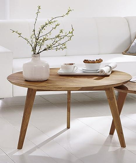 SAM® Couchtisch Olpe Rundtisch aus massiver Wildeiche geölt 90 cm in einem naturlichen Design