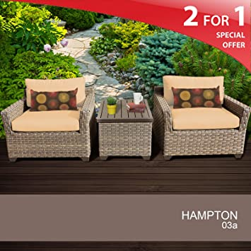 Hampton 3 Piece Outdoor Wicker Patio Furniture Set 03a Sesame 2 Yr Fade Warranty