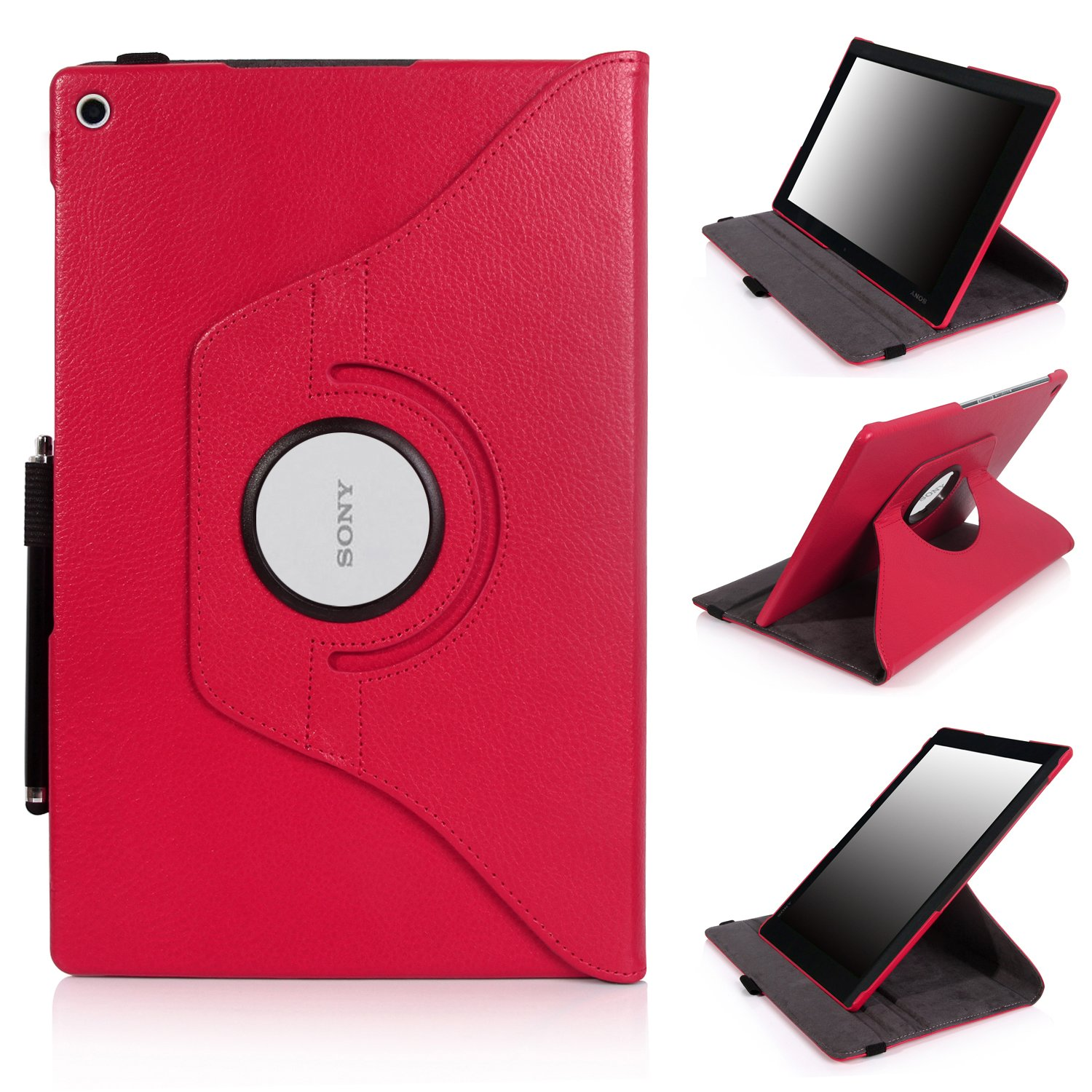 E LV 360 rotating Lightweight Case Cover stand for Sony Xperia Z2 (2014) 10.1 inch (Android Tablet) with 1 Stylus (Hot Pink, Sony Xperia Tablet Z2)