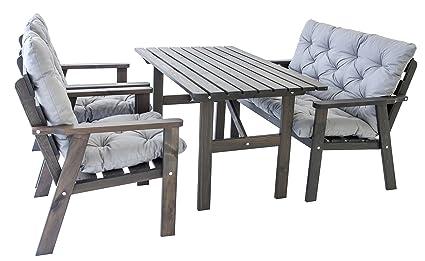 Ambientehome Garten Loungegruppe Sitzgruppe Essgruppe Massivholz inkl. Kissen HANKO, Taupegrau, 7-teiliges Set