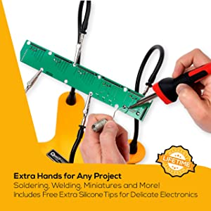 QuadHands Helping Hands Soldering Third Hand Tool | 4 Flexible Metal Arms Are Easy to Position | Rotating Stainless Steel Clamps | Made in USA - Professional Grade (Color: Mellon Yellow, Tamaño: One Size)