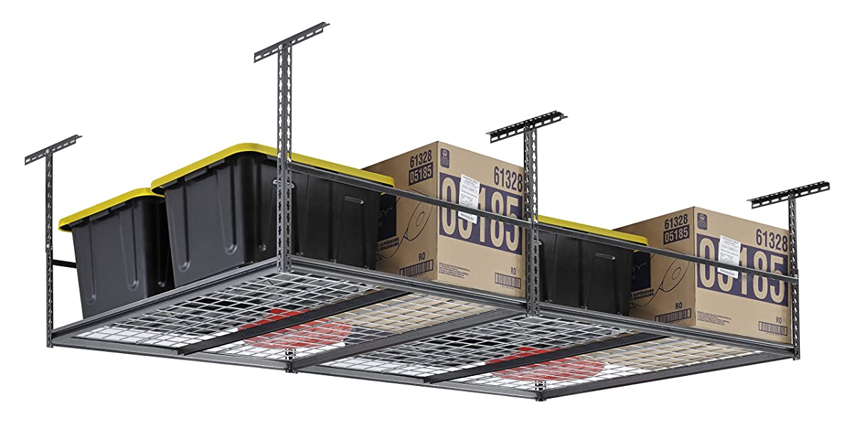 "Muscle Rack LR4896-SV 96""W x 48""D Overhead Garage Adjustable Ceiling Storage Rack , 42"" Height, 96"" width"