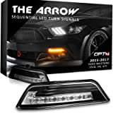 Arrow Sequential Mustang LED Front Turn Signal Pair w/Switchback DRL for 15-17 - White Amber Light Left Right [Clear] (Color: Clear Lens)