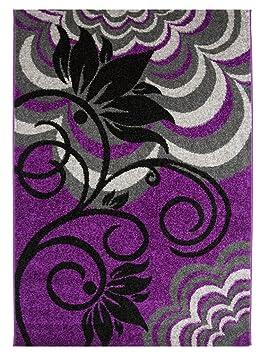 Tapis Moderne Luxueux Doux Doux Violet Et Noir
