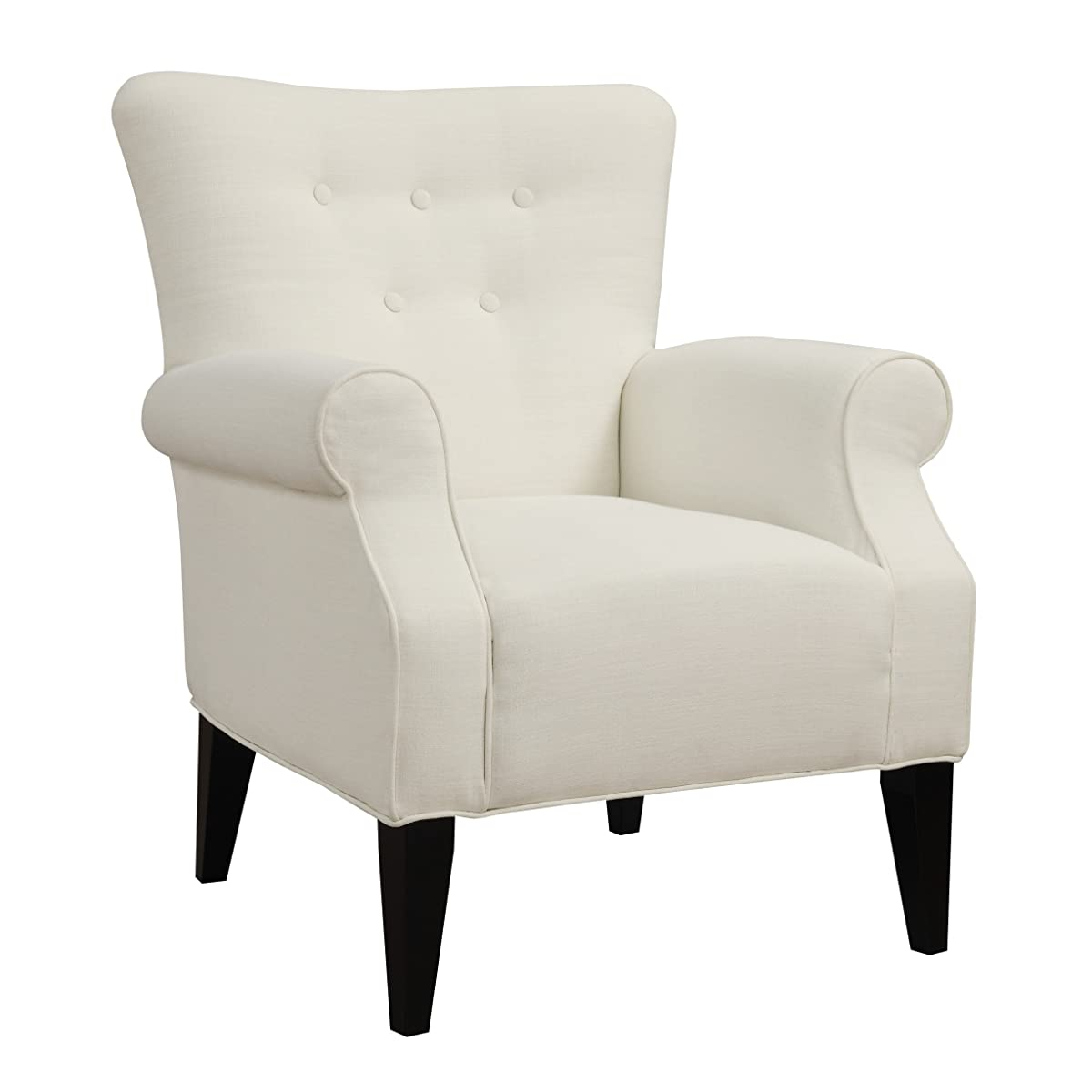 Emerald Home Lydia Snow Accent Chair with Button Tufting And Roll Arms