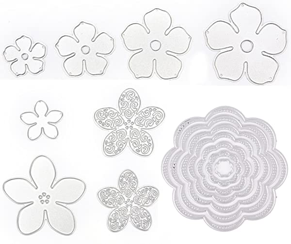 15 Pieces Flower Die Cuts for Card Making, Buytra Metal Cutting Dies Stencil Template for Scrapbooking, Photo Album Paper DIY Crafts (Color: 15 Pieces)