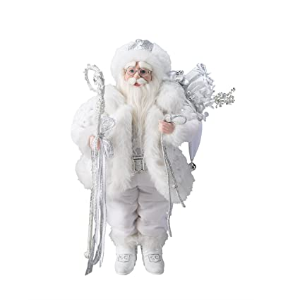 Lavish White and Silver Santa Claus Christmas Table Top Figure by Bombay Company