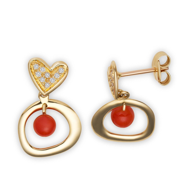 Miore Damen-Ohrringe 18 Karat (750) Gelbgold Herz mit Brillanten 0,11 Carat ,2 Koralle AG0116C online bestellen