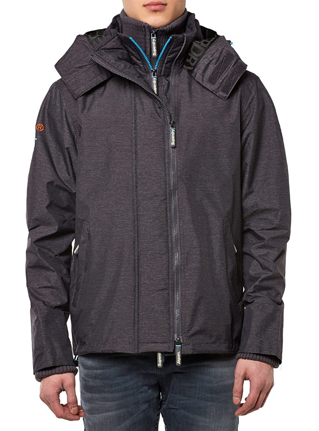 Superdry Windcheater Men TECHNICAL IMPACT HOODED Mid Charcoal Marl