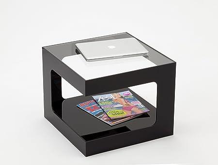 Tavolino da caffè in acrilico nero con parte superiore trasparente
