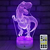 INSONJOHY Kids Night Lights Bedside Lamp 7 Colors Change Remote Control Timer 3D Night Light Kids Optical Illusion Lamps Kids Lamp As a Gift Ideas Boys Girls (Dinosaur) (Color: Dinosaur)