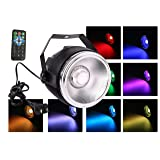 TOM LED 30W RGB COB par can wash lights with polished aluminum reflector plus small dome len and 7 DMX512 channel stage lighting for wedding/party/theater (Color: RGB, Tamaño: 12*16*17(cm))
