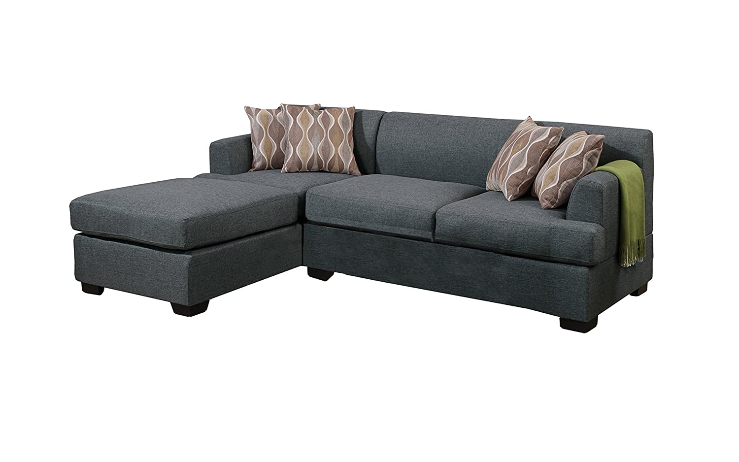 Poundex Bobkona Winfred Blended Linen 2-Piece 3-Seat Reversible Sectional Sofa - Blue Gray
