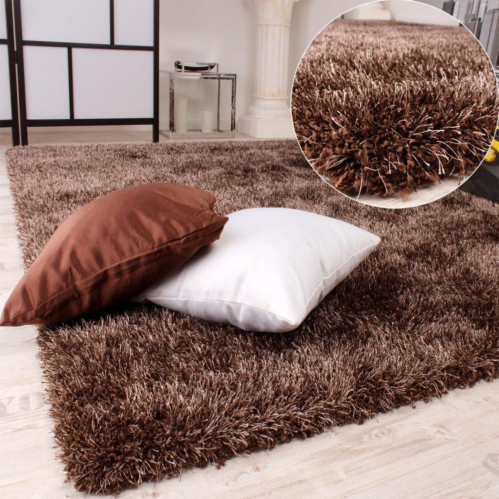 Shaggy Teppich Hochflor Langflor leicht Meliert Qualitativ u. Preiswert Braun, Grösse240x340 cm  Kundenbewertungen