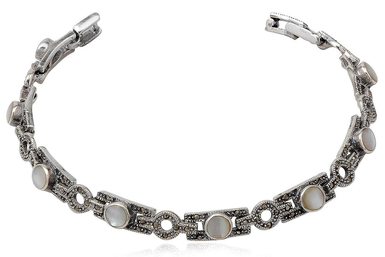 EYS exklusives Damen-Armband Perlmutt Markasit 925 Sterling Silber weiß im Etui Muschel Armkette jetzt kaufen