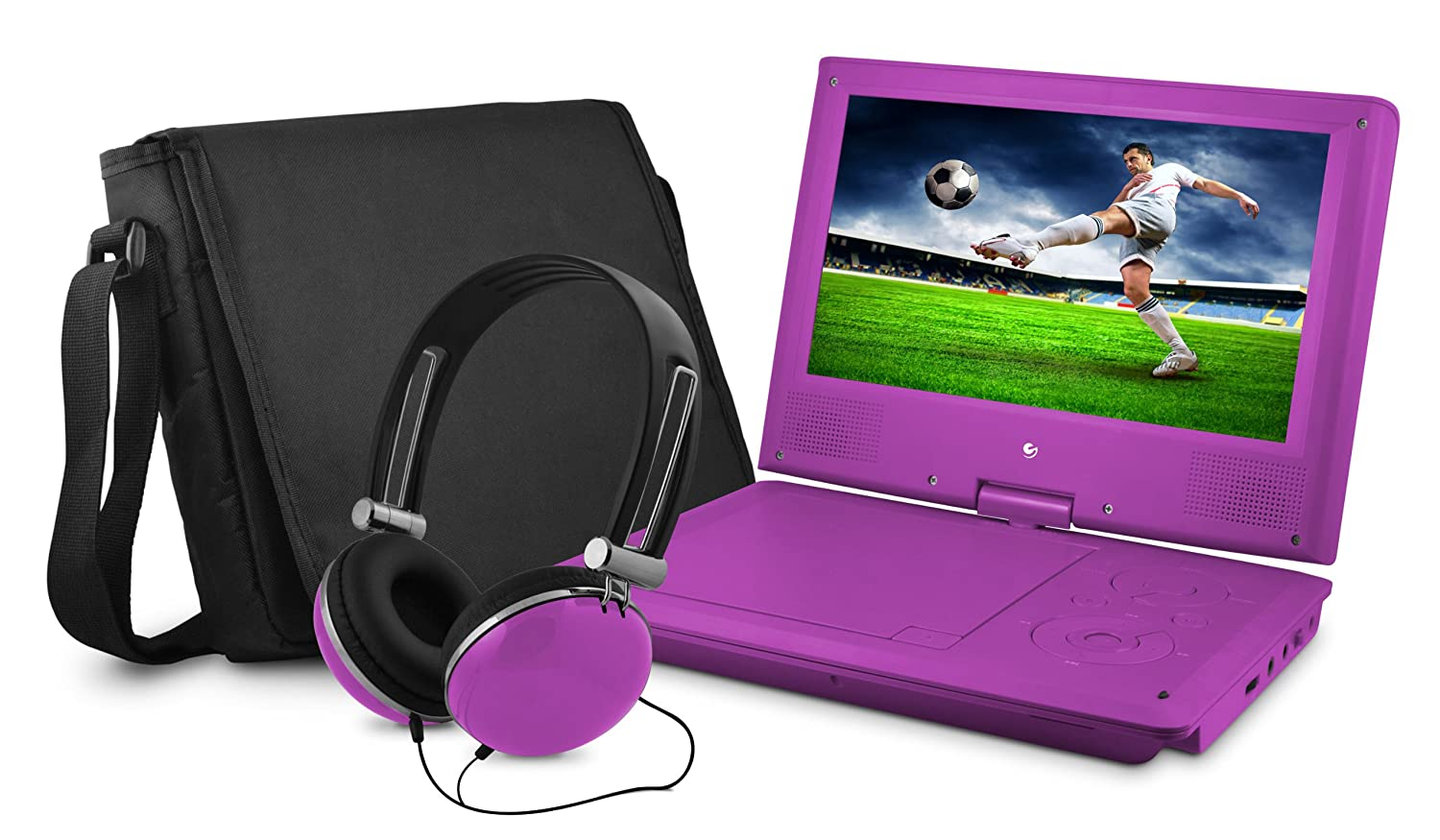 DVD Player, Ematic 9 inch Purple Portable DVD Player with Matching Headphones and Bag ( EPD909PR)
