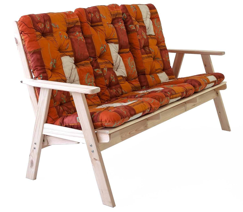Ambientehome verstellbare Gartenbank 3-Sitzer Bank Massivholz Holzbank Relaxfunktion inkl. Kissen VARBERG, Natur online bestellen