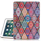 iPad 6th/5th Generation Case, Hocase PU Leather Smart Case w/ Cute Flower Design, Auto Sleep Wake Feature, Microfiber Lining Hard Back Cover for iPad A1893/A1954/A1822/A1823 - Mandala (Color: Mandala Flowers, Tamaño: 9.7 Inch)