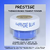 Prestige THERMOCHROMIC Pigment That Changes Color at 88°F (31 °C) from Colored to Transparent (Colored Below The Temperature, Transparent Above) Perfect for Color Changing Slime! (2g, Sapphire Blue) (Color: SAPPHIRE BLUE, Tamaño: 2g)