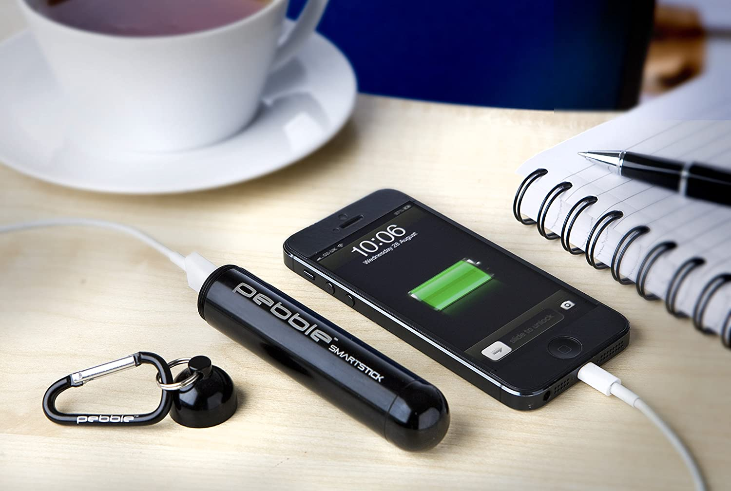 Pebble Smartstick is a powerful powerbank that holds a lot of charge in a really small tube-shaped case.
