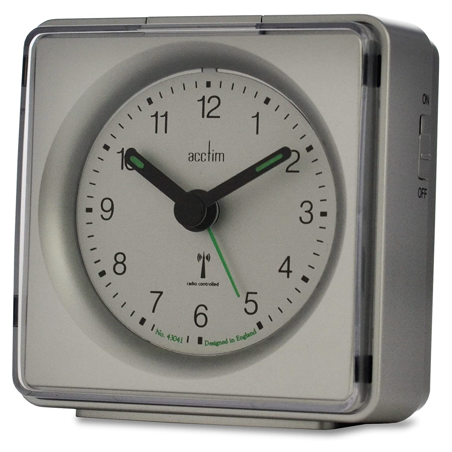 acctim 71437 piper compact alarm clock silver msf signal radio controlled. Black Bedroom Furniture Sets. Home Design Ideas