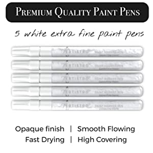 White Paint pens for Rock Painting, Stone, Ceramic, Glass, Wood. Set of 5 Acrylic Paint Markers Extra-fine tip (Color: white 5 pens)