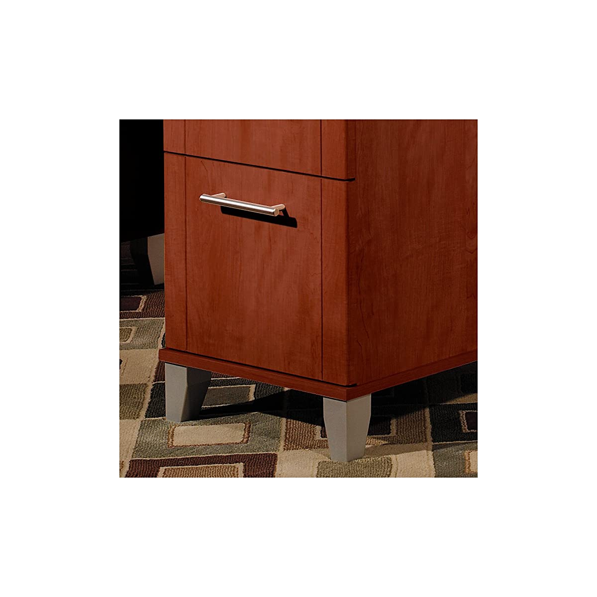 Bush Furniture Somerset 71W L Shaped Desk with Hutch in Hansen Cherry